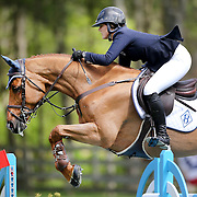 NORTH SALEM, NEW YORK - May 15: Maggie McAlary, USA, riding HH Ashley, in action during The $50,000 Old Salem Farm Grand Prix presented by The Kincade Group at the Old Salem Farm Spring Horse Show on May 15, 2016 in North Salem. (Photo by Tim Clayton/Corbis via Getty Images)