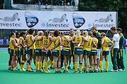 The South African team's post match huddle after their match against Argentina in the Investec Hockey World League Semi Final 2013, the Quintin Hogg Memorial Sports Ground, University of Westminster, London, UK on 27 June 2013. Photo: Simon Parker