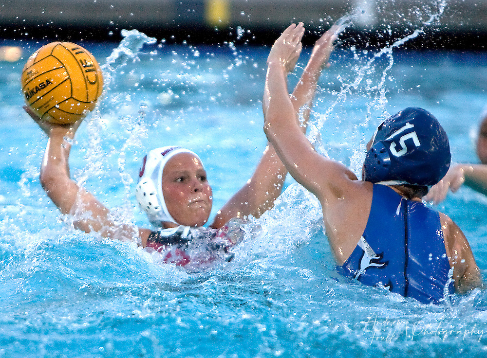 /Andrew Foulk/ For The Californian/ .Murrieta Valley's Paige Virgil, tires to pass as St Lucy's Cambria Shockley,  tries to block during the CIF Southern Section Division III championship match.