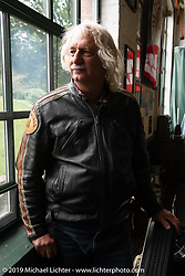 Doug Feinsod of California on a stop at the Hemming Museum during the Motorcycle Cannonball coast to coast vintage run. Stage-2 (251-miles) from Keene, NH to Binghampton, NY. Sunday September 9, 2018. Photography ©2018 Michael Lichter.