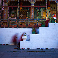 Asia, Bhutan, Thimpu. Monks at Tashichhoedzong.
