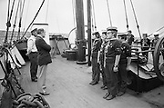 """Sea Scouts aboard the Lightship """"Albatross""""..1972..22.07.1972..07.22.1972..22nd July 1972..Pictured aboard the """"Albatross"""", Mr Brendan O'Kelly,Chief Executive,Bord Iascaigh Mhara (BIM), addresses the assembled group of sea scouts."""