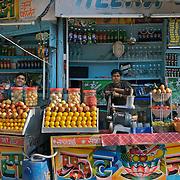 A juice stall at INA market in central Delhi, December 2006