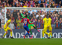 Football - 2021/2022  Premier League - Crystal Palace vs Brentford - Selhurst Park  - Saturday 21st August 2021.<br /> <br /> David Raya (Brentford FC) at stretch to reach the attempt at goal at Selhurst Park.<br /> <br /> COLORSPORT/DANIEL BEARHAM