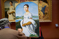 France, Paris, musee du Louvre, Mr. Dagher copiste officiel reproduisant Mademoiselle Caroline Rivière de Jean Auguste Dominique Ingres // France, Paris, Louvre museum, M. Dagher, French copyist paints Mademoiselle Caroline Rivière de Jean Auguste Dominique Ingres