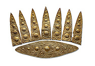 Top leaf shapes of a Mycenaean gold diadem from Grave III, 'Grave of a Women', Grave Circle A, Myenae, Greece. National Archaeological Museum Athens. White Background.<br /> <br /> Cat No 3,5. 16th century BC.<br /> <br /> Shaft Grave III, the so-called 'Grave of the Women,' contained three female and two infant interments. The women were literally covered in gold jewelry and wore massive gold diadems, while the infants were overlaid with gold foil. .<br /> <br /> If you prefer to buy from our ALAMY PHOTO LIBRARY  Collection visit : https://www.alamy.com/portfolio/paul-williams-funkystock/mycenaean-art-artefacts.html . Type -   Athens    - into the LOWER SEARCH WITHIN GALLERY box. Refine search by adding background colour, place, museum etc<br /> <br /> Visit our MYCENAEN ART PHOTO COLLECTIONS for more photos to download  as wall art prints https://funkystock.photoshelter.com/gallery-collection/Pictures-Images-of-Ancient-Mycenaean-Art-Artefacts-Archaeology-Sites/C0000xRC5WLQcbhQ