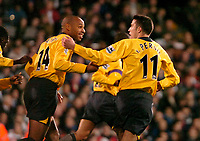 Photo: Ed Godden.<br /> Fulham v Arsenal. The Barclays Premiership. 29/11/2006.<br /> Robin Van Persie (R) celebrates his goal for Arsenal with Captain Thierry Henry.