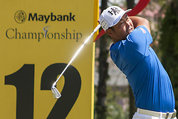 February 3, 2018 - Shah Alam, Kuala Lumpur, Malaysia - Hideto Tanihara is seen taking a shot from hole no 18 on day 3 at the Maybank Championship 2018...The Maybank Championship 2018 golf event is being hosted on 1st to 4th February at Saujana Golf & Country Club. (Credit Image: © Faris Hadziq/SOPA via ZUMA Wire)