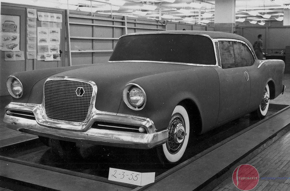 Full size clay model of design proposals for Studebaker's 1956 sedan line created by Robert Bourke and the Raymond Loewy Associates staff.