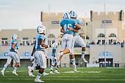 The Citadel fullback Nathan Storch celebrates a touchdown against North Greenville University in a non-conference game at Johnson Hagood Stadium in Charleston, South Carolina on Saturday, September 18, 2021.<br /> <br /> Credit: Cameron Pollack / The Citadel Athletics