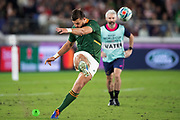Handre Pollard of South Africa kicks the ball during the Rugby World Cup  final match between England and South Africa at the International Stadium ,  Saturday, Nov. 2, 2019, in Yokohama, Japan. South Africa defeated England 32-12. (Florencia Tan Jun/ESPA-Image of Sport)