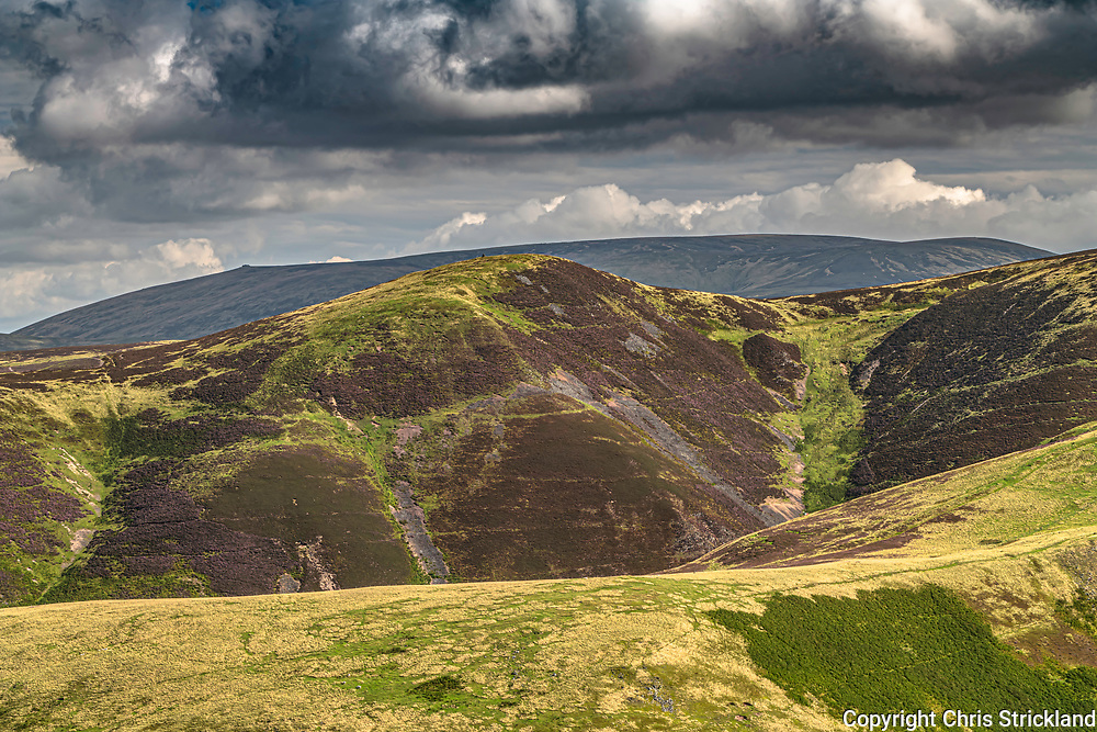 Hownam, Kelso, Scottish Borders, UK. 29th August 2019. Looking north east from the Cheviot Raeshaw Fell (483m) on the Anglo Scottish Border.