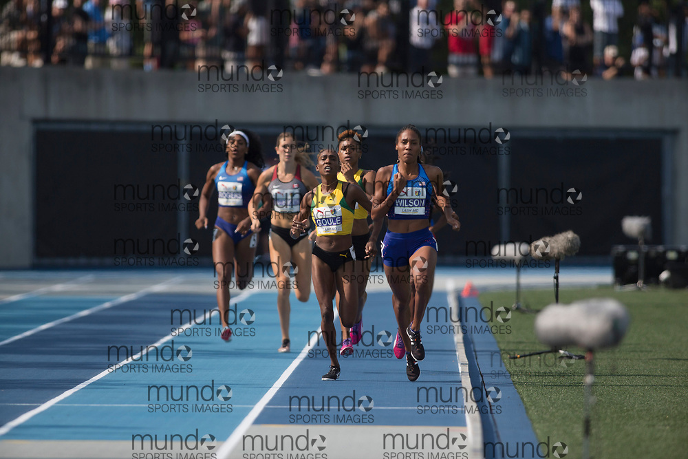 Toronto, ON -- 11 August 2018: Ajee Wilson (USA), 800m final at the 2018 North America, Central America, and Caribbean Athletics Association (NACAC) Track and Field Championships held at Varsity Stadium, Toronto, Canada. (Photo by Sean Burges / Mundo Sport Images).