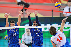 13.09.2014, Atlas Arena, Lodz, POL, FIVB WM, Serbien vs Frankreich, 2. Runde, Gruppe E, im Bild Nicolas Le Goff, Earvin Ngapeth, Aleksandar Atanasijevic // during the FIVB Volleyball Men's World Championships 2nd Round Pool E Match beween Serbia and France at the Atlas Arena in Lodz, Poland on 2014/09/13. EXPA Pictures © 2014, PhotoCredit: EXPA/ Newspix/ Mariusz Palczynski<br /> <br /> *****ATTENTION - for AUT, SLO, CRO, SRB, BIH, MAZ, TUR, SUI, SWE only*****