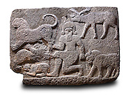 Picture & image of a Neo-Hittite orthostat describing the legend of Gilgamesh from Karkamis,, Turkey. Ancora Archaeological Museum.