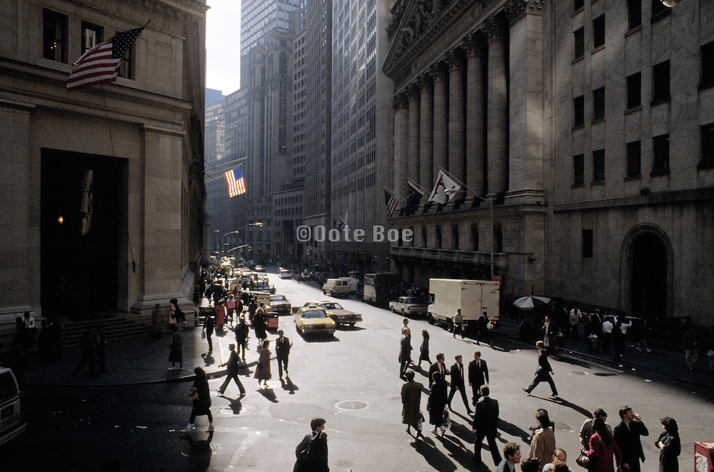 Wall street and stock exchange early 1990s
