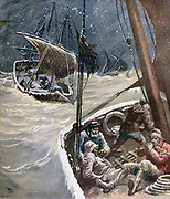Catastrope in Trinity Bay, Newfoundland: Seal hunters overwhelmed by a snowstorm.  Forty members of the  group died of hunger and cold.  From 'Le Petit Journal', Paris, 19 March 1832.  Hunting, Mammal, Marine, Atlantic, Winter