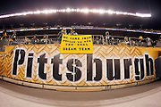 """A Pittsburgh Steelers fan sports a """"real dream team"""" sign in front of a Pittsburgh banner on a sideline wall before the NFL week 14 football game against the Cleveland Browns on Thursday, December 8, 2011 in Pittsburgh, Pennsylvania. The Steelers won the game 14-3. ©Paul Anthony Spinelli"""