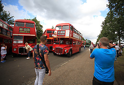 © Licensed to London News Pictures. 13/07/2014. London, UK.  Routemaster Association commemorates the 60th anniversary of the unveiling of the first Routemaster, RM1, at the Commercial Motor Show in September 1954, with an event at Finsbury Park, north London. Photo credit : Isabel Infantes/ LNP
