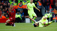 Football - 2018 / 2019 UEFA Champions League - Semi-Final, Second Leg: Liverpool (0) vs. Barcelona (3)<br /> <br /> Fabinho of Liverpool and Luis Suarez of Barcelona  at Anfield.<br /> <br /> COLORSPORT/LYNNE CAMERON