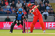 Wicket - Jos Buttler of Lancashire is bowled by Moeen Ali of Worcestershire during the Vitality T20 Finals Day Semi Final 2018 match between Worcestershire Rapids and Lancashire Lightning at Edgbaston, Birmingham, United Kingdom on 15 September 2018.