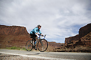 SHOT 5/7/16 8:46:49 AM - Moab is a city in Grand County, in eastern Utah, in the western United States. Moab attracts a large number of tourists every year, mostly visitors to the nearby Arches and Canyonlands National Parks. The town is a popular base for mountain bikers and motorized offload enthusiasts who ride the extensive network of trails in the area. Includes images of Scenic Byway 128, Fisher Towers and downtown Moab. (Photo by Marc Piscotty / © 2016)