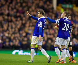 04.01.2014, Goodison Park, Liverpool, ENG, FA Cup, FC Everton vs Queens Park Rangers, 3. Runde, im Bild Everton's Nikica Jelavic scores the second goal against Queens Park Rangers // during the English FA Cup 3rd round match between Everton FC and Queens Park Rangers at the Goodison Park in Liverpool, Great Britain on 2014/01/04. EXPA Pictures © 2014, PhotoCredit: EXPA/ Propagandaphoto/ David Rawcliffe<br /> <br /> *****ATTENTION - OUT of ENG, GBR*****