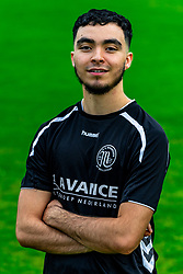 "Portret of Oussama el Hammouti of VV Maarssen. Photoshoot of the selection 2020-2021, sat 1 of VV Maarssen with the Corona rule ""1.5 meters away"" on 16 June 2020, sports park Daalseweide in Maarssen."