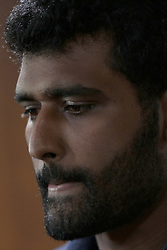 November 29, 2017 - Colombo, Sri Lanka - Sri Lankan cricketer Thisara Perera reacts while speaking to media after his appointment as the captain for the One Day International and Twenty-20 cricket series against the Indian cricket team at Colombo, Sri Lanka on Wednesday 29 November 2017. (Credit Image: © Tharaka Basnayaka/NurPhoto via ZUMA Press)