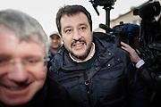 Matteo Salvini partecipa al sit-in di protesta della Lega, contro la bocciatura del referendum sulla riforma Fornero, in piazza del Quirinale, Roma 21 gennaio 2015.  Christian Mantuano / OneShot