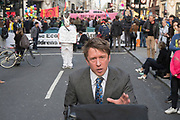 April, 18th, 2019 - London, Greater London, United Kingdom: The fictitious UK news reporter Jonathan Pie at Oxford Circus Extinction Rebellion. UK News reporter Jonathan Pie brutally honest views on the world of politics with rabbit and yacht behind. Demonstration against Climate Crisis. Extinction Rebellion is demanding the UK government takes urgent action on climate change and wildlife declines. Extinction Rebellion activists disrupt traffic around famous London Landmarks. Thousands of protesters  converging on central hubs including Oxford Circus and Parliament Square. Nigel Dickinson/Polaris