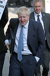 Conservative party leadership contender Boris Johnson arrives at his office in Westminster, London.