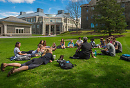 Photos by Mark DiOrio / Colgate University<br /> Students enjoy the spring weather outside on the Academic Quad, Apr. 26, 2017 in Hamilton, N.Y.