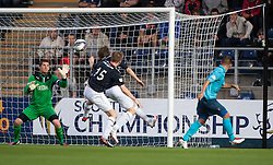 Falkirk's keeper Michael McGovern saves another Dunfermline attack.<br /> Falkirk 2 v 1 Dunfermline, Scottish League Cup, 27/8/2013, at The Falkirk Stadium.<br /> ©Michael Schofield.