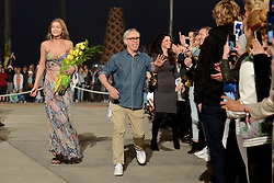 Model Gigi Hadid and fashion designer Tommy Hilfiger walk the runway at the TommyLand Tommy Hilfiger Spring 2017 Fashion Show on February 8, 2017 in Venice, Los Angeles, CA, USA. Photo By Lionel Hahn/ABACAPRESS.COM