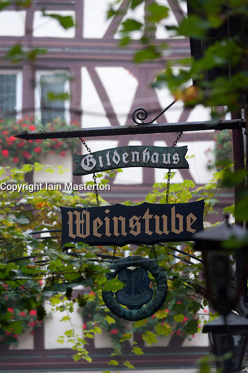 Sign  for wine shop  in Bernkastel-Kues village on River Mosel in Mosel valley in Germany