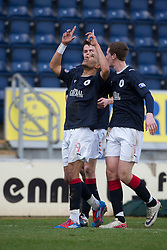 Falkirk's Farid El Alagui celebrates after scoring their first goal..(half time) Falkirk 2 v 0 Queen of the South, 25/2/2012..© Michael Schofield.