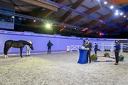 Jury Dressuurhengsten, Rutten Bert, Dorresteijn Marian, Hamminga Johan, Dröge Floor<br /> KWPN Hengstenkeuring 2021<br /> © Hippo Foto - Dirk Caremans<br />  05/02/2021