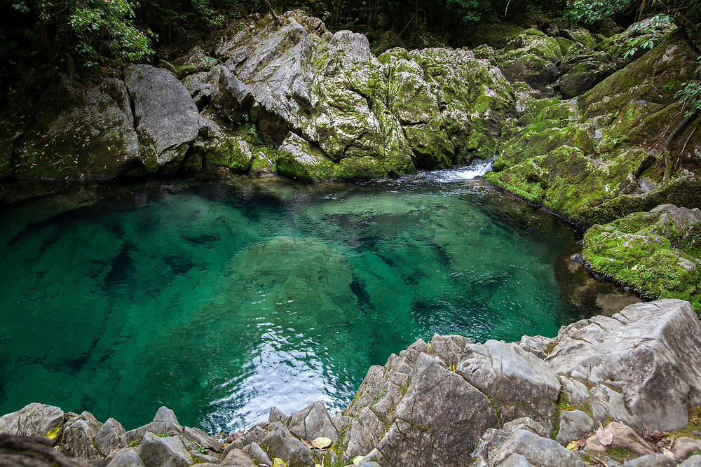 The Riwaka river, resurgence Kahurangi National Park is the source of water that emerges from the depths of the Takaka Hill.