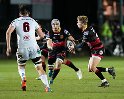 Dragons' Angus O'Brien<br /> <br /> Photographer Simon King/Replay Images<br /> <br /> Guinness Pro14 Round 10 - Dragons v Ulster - Friday 1st December 2017 - Rodney Parade - Newport<br /> <br /> World Copyright © 2017 Replay Images. All rights reserved. info@replayimages.co.uk - www.replayimages.co.uk