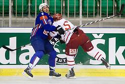 Tomaz Razingar of Slovenia vs Daniel Nielsen of Denmark at ice-hockey friendly match between National teams of Slovenia and Denmark, on April 14, 2010, in Tivoli hall, Ljubljana, Slovenia. Denmark defeated Slovenia 5-3. (Photo by Vid Ponikvar / Sportida)