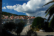 Elevated view of quay and Korcula town, island of Korcula, Croatia