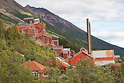 The impressive structures of the historic Kennecott Copper Mine in Kennecott, Alaska.