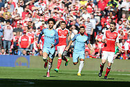 Leroy Sane of Manchester city chases the ball. The Emirates FA Cup semi-final match, Arsenal v Manchester city at Wembley Stadium in London on Sunday 23rd April 2017.<br /> pic by Andrew Orchard,  Andrew Orchard sports photography.