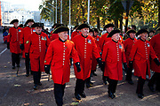 Chelsea Pensioners in their bright red tunics, veterans make their way after Remembrance Sunday ceremony in central London. In the United Kingdom; Remembrance Sunday is held on the second Sunday in November; which is the Sunday nearest to 11 November Armistice Day. It is the anniversary of the end of hostilities in the First World War at 11 a.m. in 1918; and is designed to to commemorate the contribution of British and Commonwealth military and civilian servicemen and women in the two World Wars and later conflicts.