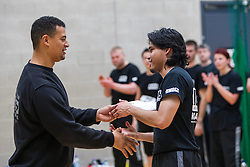 P1 student receives his certificate from Franklyn Hartkamp at the Institute Of Krav Maga Scotland grading today at Stirling.<br /> ©Michael Schofield.