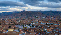 CUSCO, PERU - CIRCA SEPTEMBER 2019:  Panoramic view of Cusco, the old city and rooftops