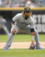CHICAGO - MAY 19:  Vladimir Guerrero Jr.  #27 of the Toronto Blue Jays fields against the Chicago White Sox on May 19, 2019 at Guaranteed Rate Field in Chicago, Illinois.  (Photo by Ron Vesely)  Subject:  Vladimir Guerrero Jr.
