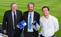 Bristol Rovers Manager Darrell Clarke and Chairman Steve Hamer pose with the winner of the 1st and 3rd prize at the Sponsors Draw - Mandatory by-line: Robbie Stephenson/JMP - 15/04/2016 - FOOTBALL - The Memorial Ground - Bristol, England -  v  - Bristol Rovers Sponsor Draw