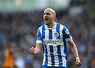 Bruno Saltor, Brighton defender scores the opening goal and celebrates during the Sky Bet Championship match between Brighton and Hove Albion and Wolverhampton Wanderers at the American Express Community Stadium, Brighton and Hove, England on 14 March 2015.